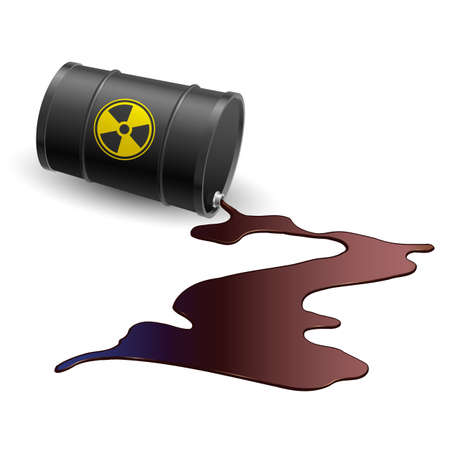 nuclear weapons: Barrel throwing toxic liquid. Illustration on white