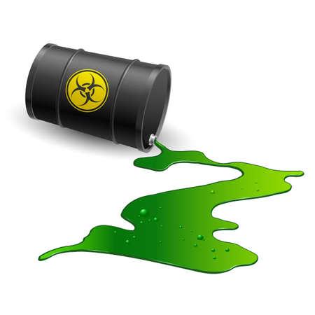 riesgo quimico: Se derrama barril químico. Ilustración sobre fondo blanco
