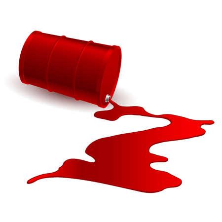 oil spill: Botte con versato liquido rosso. Illustrazione su bianco