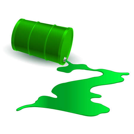 industrial drop: Spilled Chemical Green Barrel. Illustration on white background