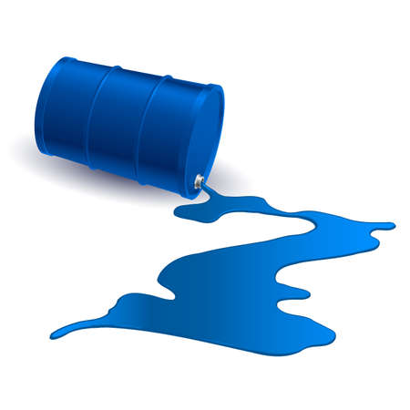 Barrel with spilled blue liquid. Illustration on white Vector