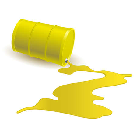 Barrel with spilled yellow liquid. Illustration on white Vector