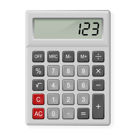 calculator money: Top View of Gray Calculator. Illustration on white Illustration