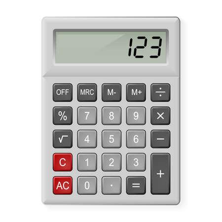 multiply: Vista superior de la calculadora Gray. Ilustraci�n en blanco Vectores