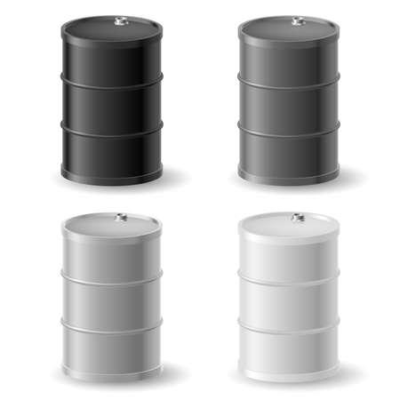 barril de petróleo: Barriles de petróleo. Iconos grises fijados en blanco Vectores
