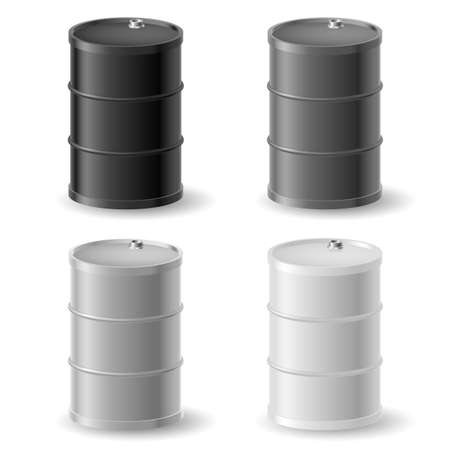 Oil barrels. Gray icons set on white Vector