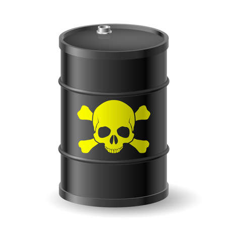Skull and bones on barrel with poisonous substances Vector
