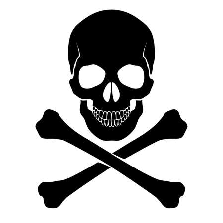 skeleton skull: Skull and crossbones - a mark of the danger  warning Illustration