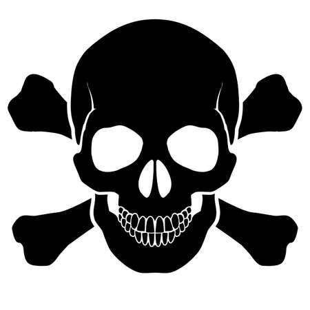 Cráneo y huesos - una marca de advertencia de peligro