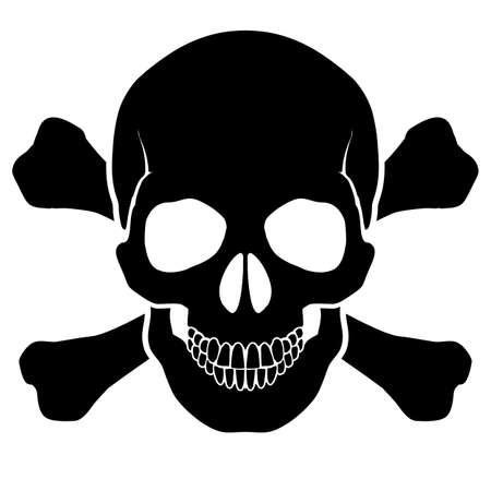 skeleton skull: Skull and bones - a mark of the danger  warning