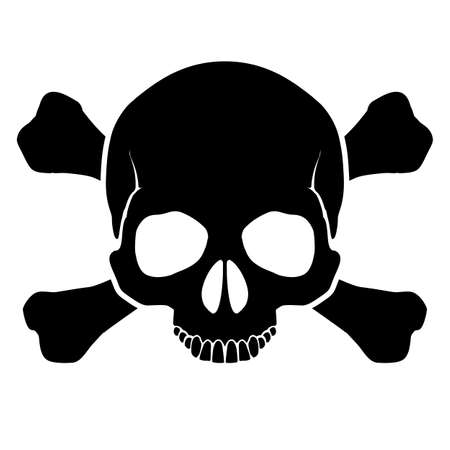 skull tattoo: The mark warning of an opportunity of defeat by an electric current, and other dangers  Illustration