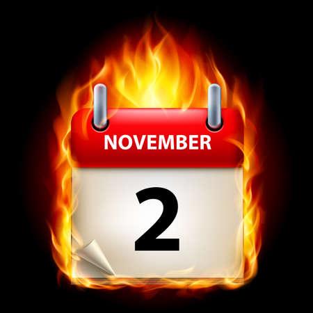 calendario noviembre: Segundo mes de noviembre en el Calendario. Burning Icono sobre fondo negro