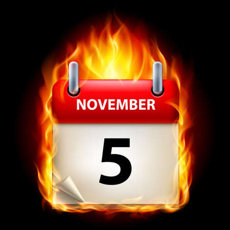 fifth: Fifth November in Calendar. Burning Icon on black background