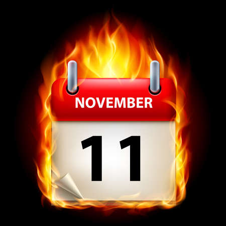 eleventh: Eleventh November in Calendar. Burning Icon on black background Illustration
