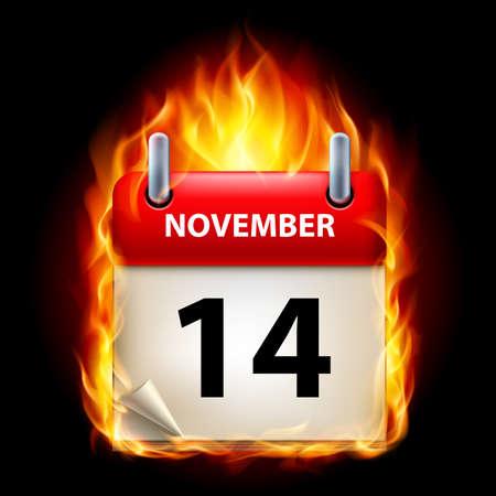 fourteenth: Fourteenth November in Calendar. Burning Icon on black background