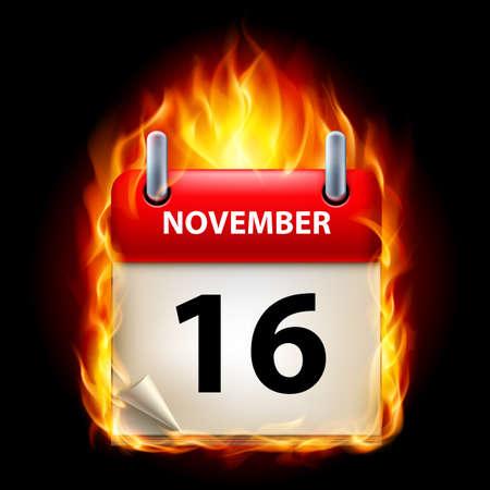calendario noviembre: Decimosexta noviembre en el Calendario. Burning Icono sobre fondo negro