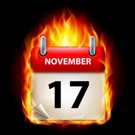 seventeenth: Seventeenth November in Calendar. Burning Icon on black background Illustration