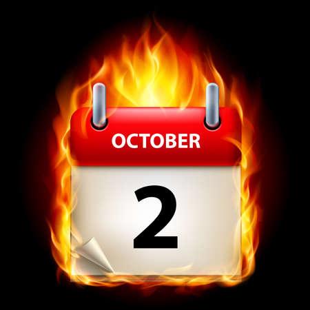 calendario octubre: Segundo mes de octubre en el Calendario. Burning Icono sobre fondo negro Vectores