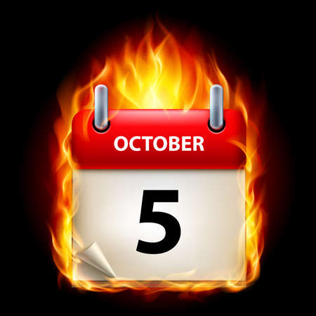 fifth: Fifth October in Calendar. Burning Icon on black background