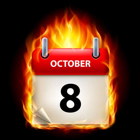 eighth: Eighth October in Calendar. Burning Icon on black background