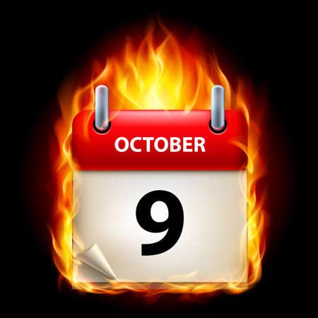 ninth: Ninth October in Calendar. Burning Icon on black background