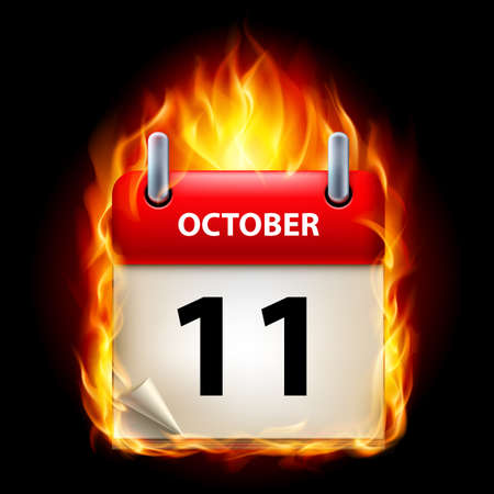 eleventh: Eleventh October in Calendar. Burning Icon on black background Illustration