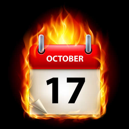 seventeenth: Seventeenth October in Calendar. Burning Icon on black background