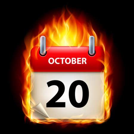 twentieth: Twentieth October in Calendar. Burning Icon on black background