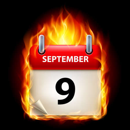ninth: Ninth September in Calendar. Burning Icon on black background Illustration