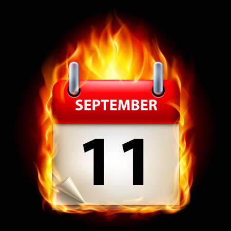 eleventh: Eleventh September in Calendar. Burning Icon on black background