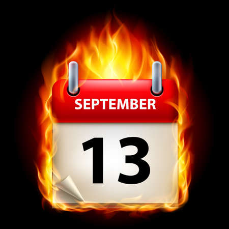 cutoff date: Thirteenth September in Calendar. Burning Icon on black background