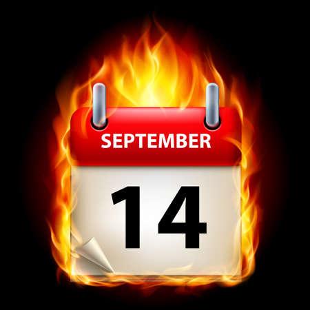 fourteenth: Fourteenth September in Calendar. Burning Icon on black background