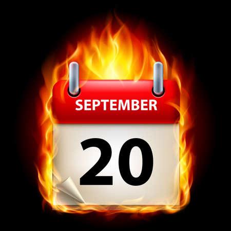 twentieth: Twentieth September in Calendar. Burning Icon on black background