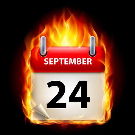 cutoff date: Twenty-fourth September in Calendar. Burning Icon on black background Illustration