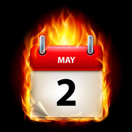 cutoff date: Second May in Calendar. Burning Icon on black background Illustration
