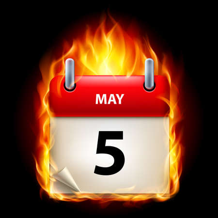 fifth: Fifth May in Calendar. Burning Icon on black background