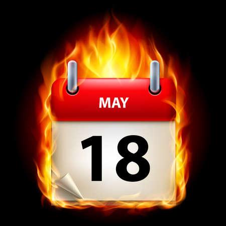 cutoff date: Eighteenth May in Calendar. Burning Icon on black background