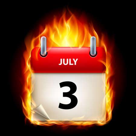 cutoff date: Third July in Calendar. Burning Icon on black background