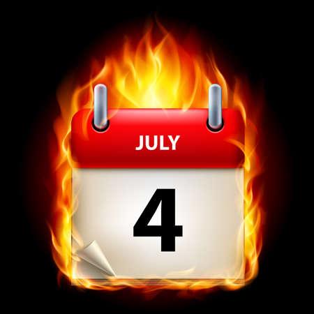 calendario julio: Cuatro de Julio en el Calendario. Burning Icono sobre fondo negro Vectores