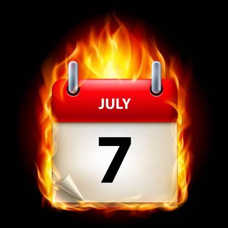 cutoff date: Seventh July in Calendar. Burning Icon on black background