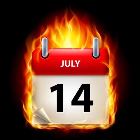 fourteenth: Fourteenth July in Calendar. Burning Icon on black background