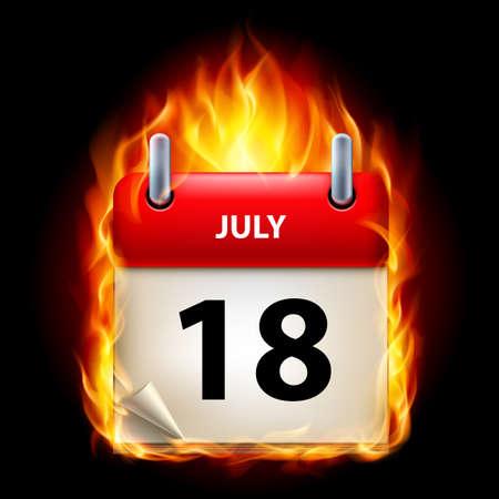 eighteenth: Eighteenth July in Calendar. Burning Icon on black background