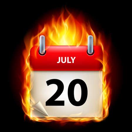twentieth: Twentieth July in Calendar. Burning Icon on black background