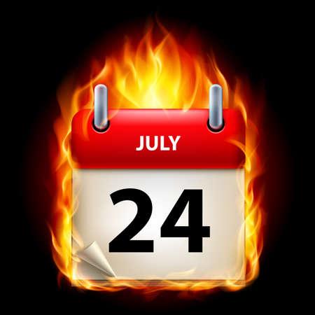 cutoff date: Twenty-fourth July in Calendar. Burning Icon on black background