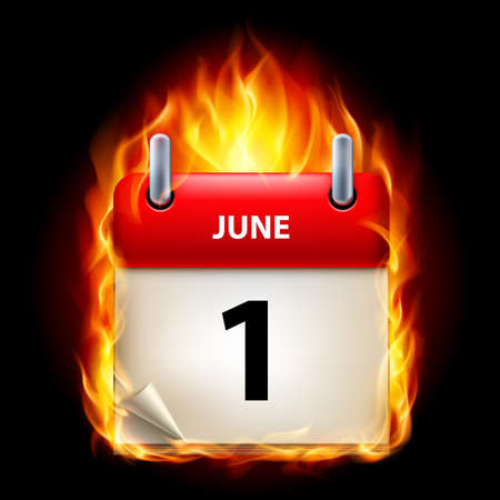 calendar isolated: First June in Calendar. Burning Icon on black background