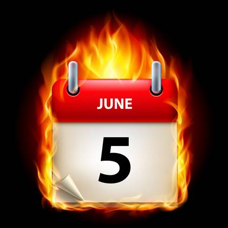 fifth: Fifth June in Calendar. Burning Icon on black background Illustration