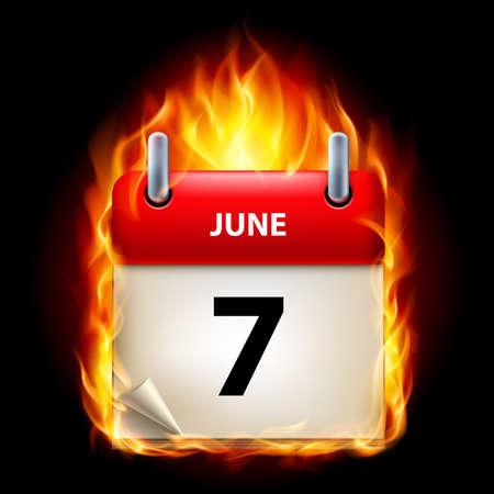 Seventh June in Calendar. Burning Icon on black background Vector