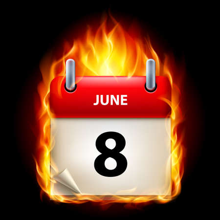 eighth: Eighth June in Calendar. Burning Icon on black background