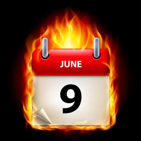 ninth: Ninth June in Calendar. Burning Icon on black background