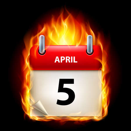 Fifth April in Calendar. Burning Icon on black background Vector